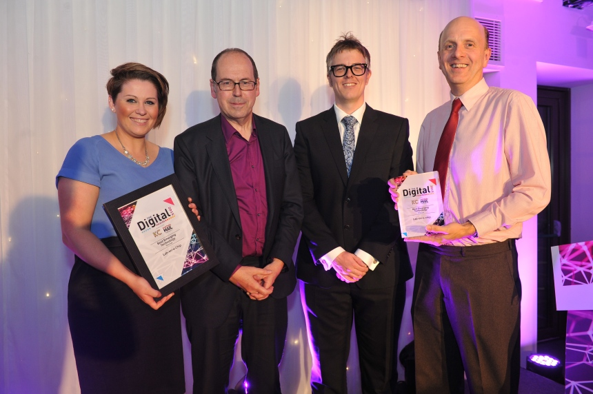 Best Emergency Technology award, winner Lab-on-a-Chip. Pictured, from left, Amy Dawson, Rory Cellan-Jones, presenting the award James Greenwood digital director Strawberry and John Greenman Picture: Jerome Ellerby